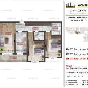 3 camere Dristor Residential 2 tip C