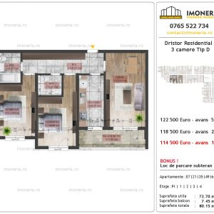 apartament 3 camere Dristor Residential 2 tip D