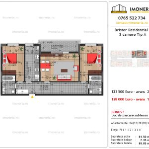 apartament 3 camere Dristor Residential 3 tip a