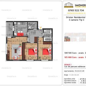vanzare apartament 3 camere Dristor Residential 3 tip c