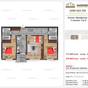 vanzare apartament 3 camere Dristor Residential 3 tip d