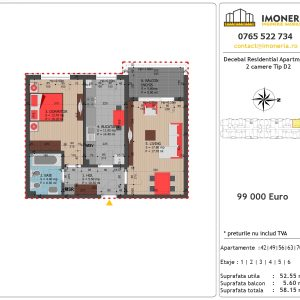 Apartamente de vanzare Decebal Residential Apartments -2 camere tip D2