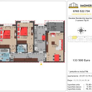 Apartamente de vanzare Decebal Residential Apartments -3 camere tip A1