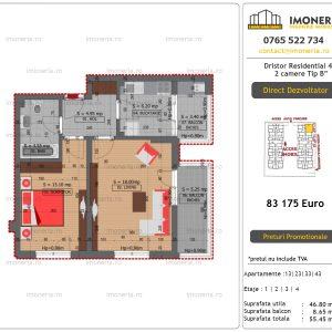 """Apartamente de vanzare Dristor Residential 4 - 2 camere tip B"""""""