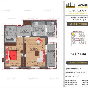 """Apartamente de vanzare Dristor Residential 5 - 2 camere tip B"""""""