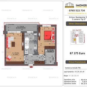 """Apartamente de vanzare Dristor Residential 5 - 2 camere tip D"""""""