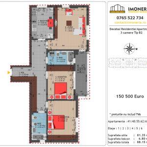 Apartamente de vanzare Decebal Residential Apartments -3 camere tip B2
